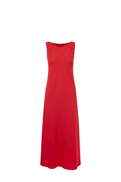 Peter Cohen - Coral Crêpe Sleeveless Maxi Dress