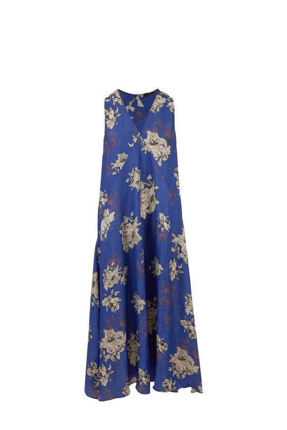 Antonelli Lafayette Silk Blend Floral Sleeveless Maxi Dress