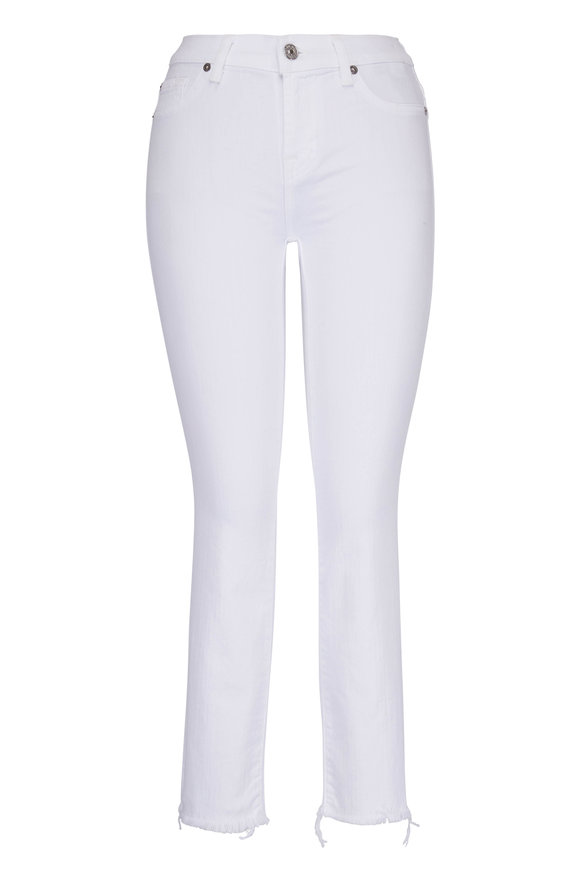 7 For All Mankind Roxanne White Ankle Fray Jean