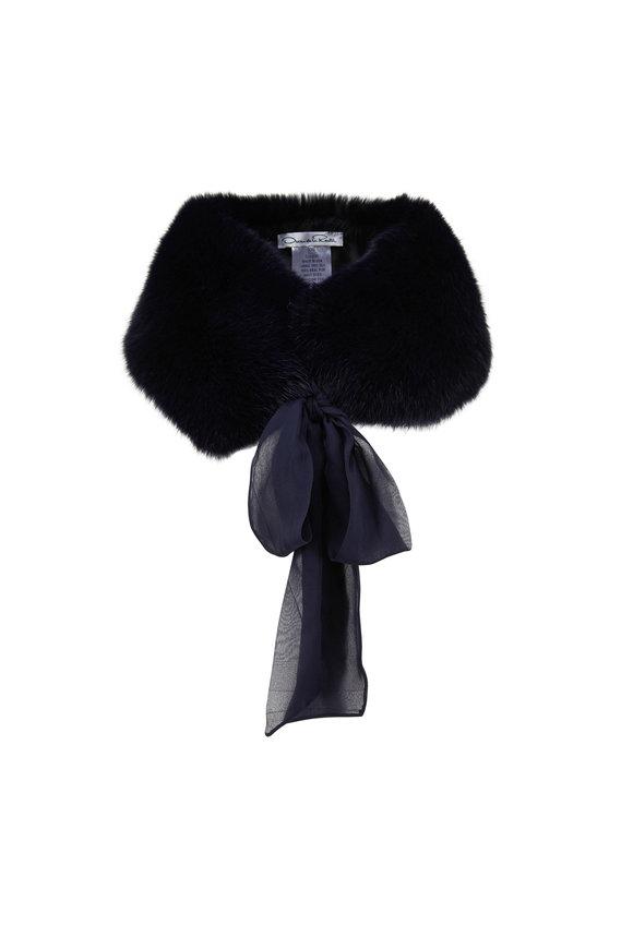 Oscar de la Renta Furs Navy Shadow Fox Stole