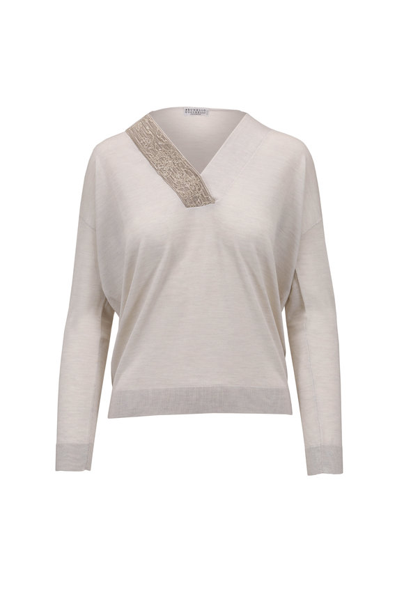 Brunello Cucinelli Oat Cashmere & Silk Paillette V-Neck Sweater