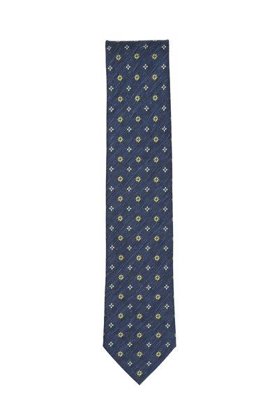 Brioni - Royal Blue Silk & Linen Medallion Necktie