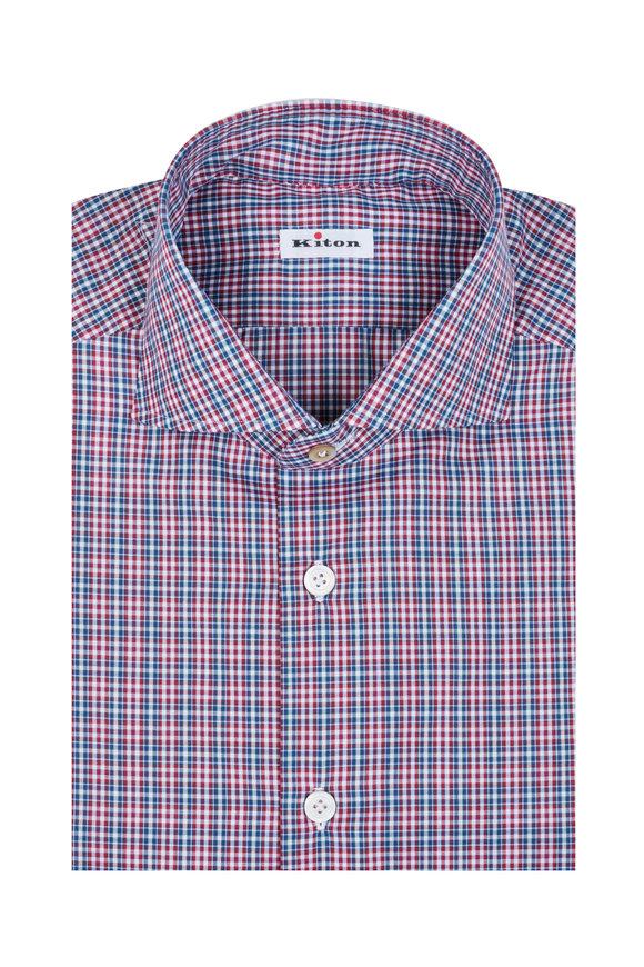 Kiton Blue & Red Check Dress Shirt