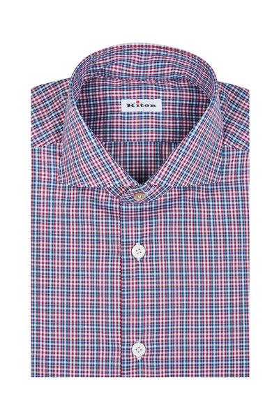 Kiton - Blue & Red Check Dress Shirt