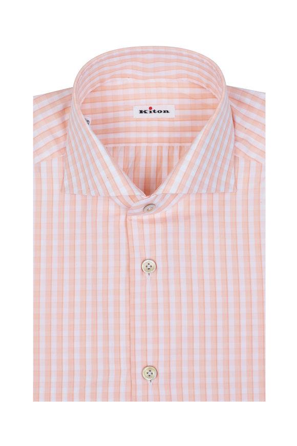 Kiton Peach Check Dress Shirt