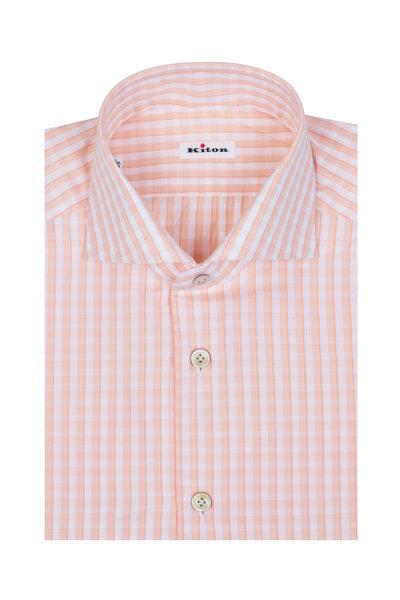 Kiton - Peach Check Dress Shirt