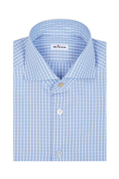 Kiton - Blue & White Check Dress Shirt