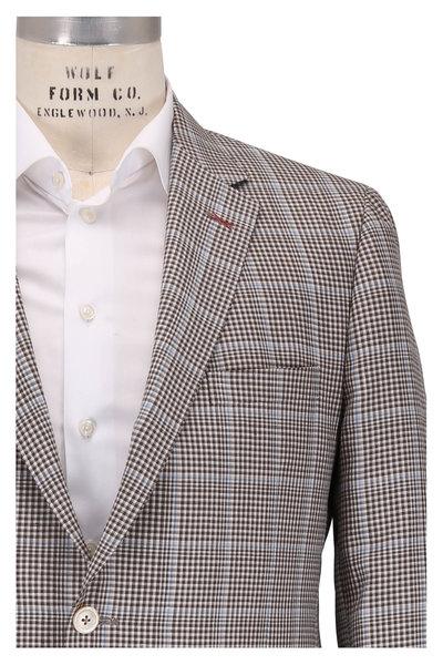 Samuelsohn - Baylor2 Brown Wool, Linen & Silk Plaid Sportcoat