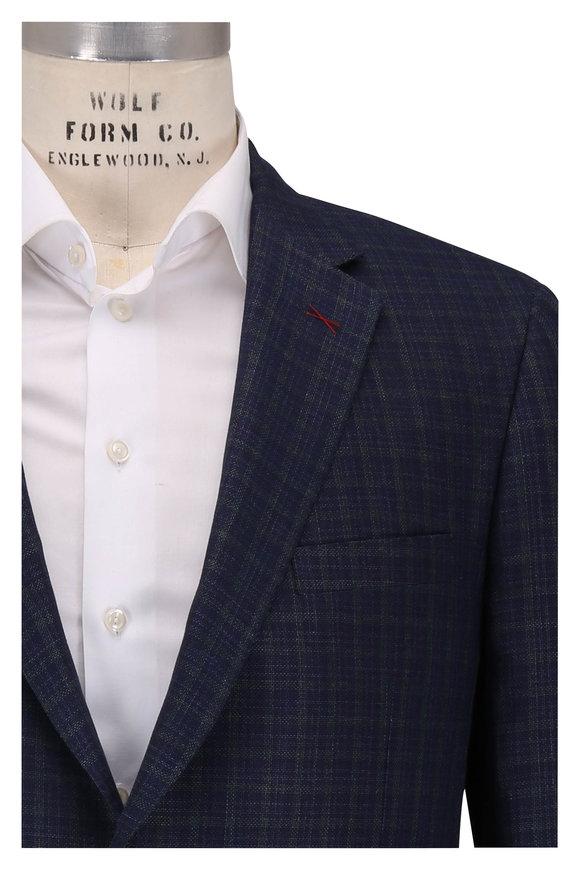Samuelsohn Baylor2 Navy & Green Wool, Silk & Linen Sportcoat