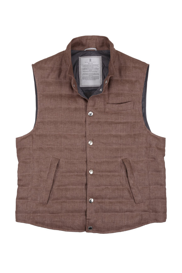 Brunello Cucinelli Brown Linen Down Quilted Vest