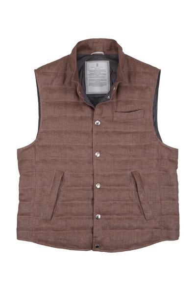 Brunello Cucinelli - Brown Linen Down Quilted Vest
