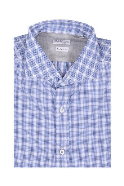 Brunello Cucinelli - Blue Plaid Slim Fit Sport Shirt
