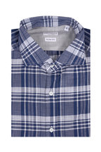 Brunello Cucinelli - Navy Blue Plaid Slim Fit Sport Shirt