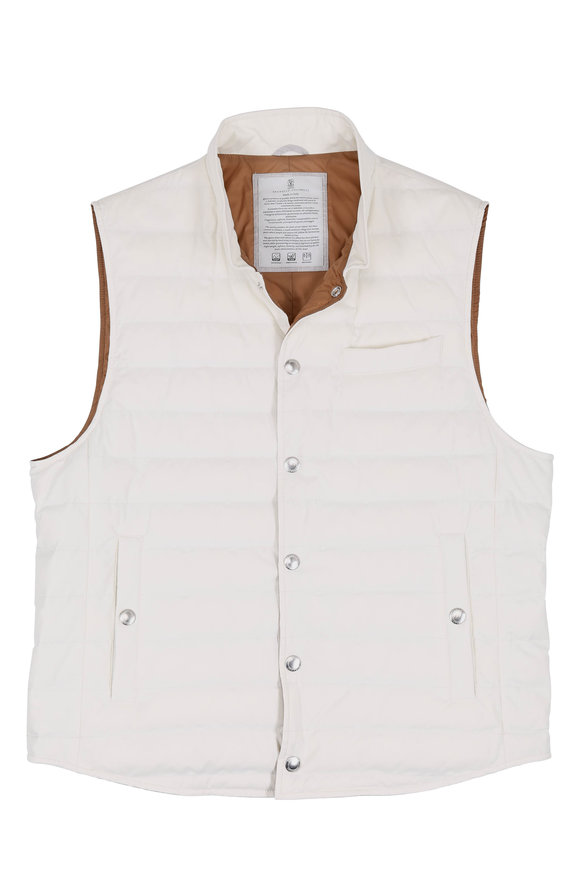 Brunello Cucinelli White Waterproof Quilted Vest