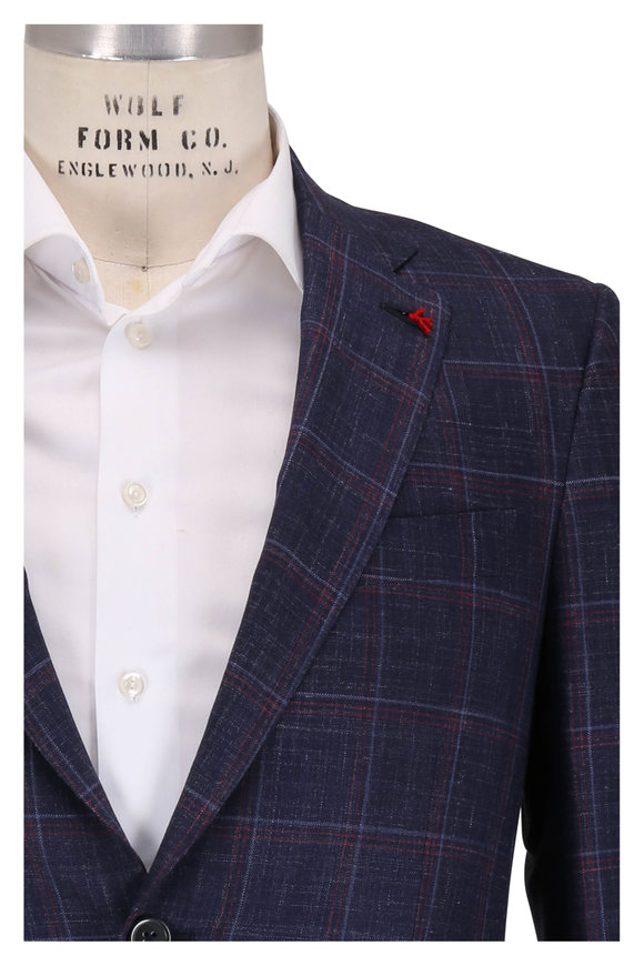 Isaia Blue & Red Double-Windowpane Wool Blend Sportcoat