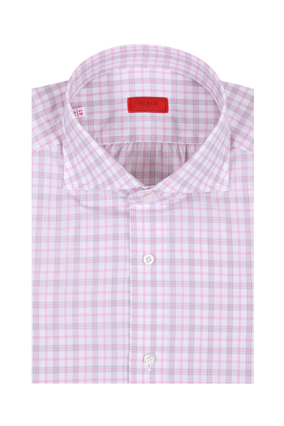 Isaia Light Pink & Gray Plaid Dress Shirt