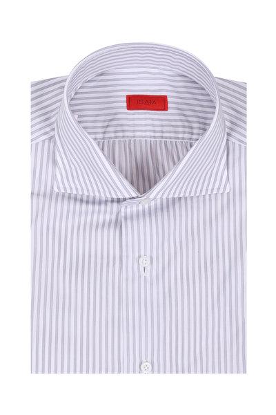 Isaia - Gray Striped Dress Shirt