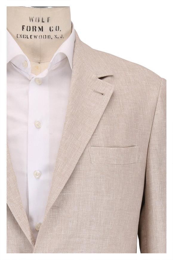 Brunello Cucinelli Sand Linen, Wool & Silk Hopsack Sportcoat