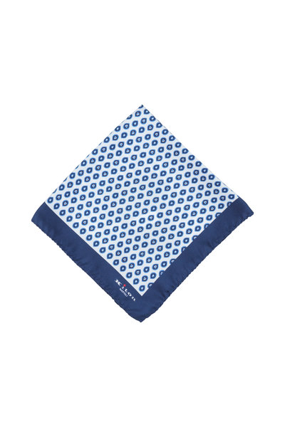 Kiton - Deep Purple Geometric Print Silk Pocket Square
