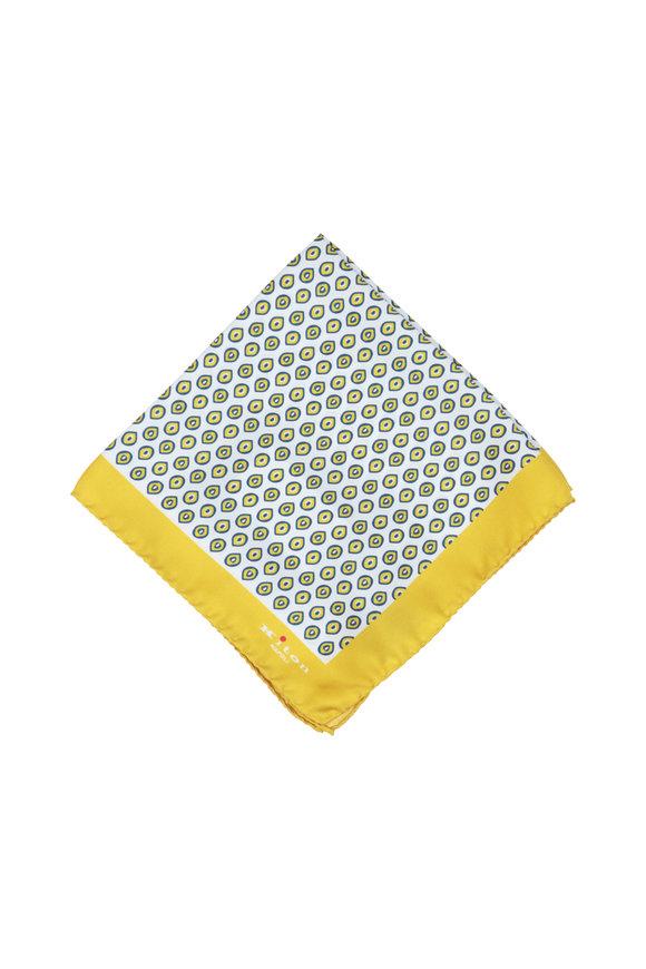 Kiton Yellow & Blue Geometric Silk Pocket Square