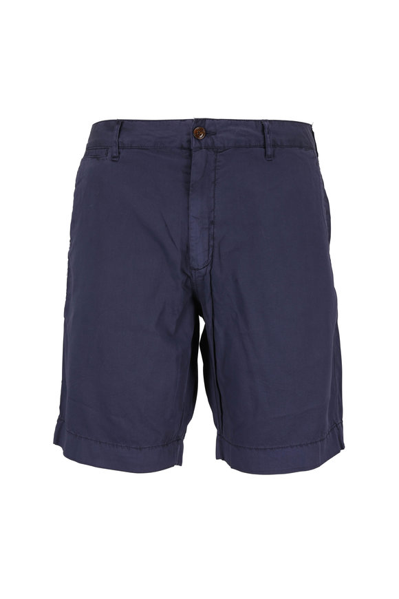 Faherty Brand Harbor Navy Blue Cotton Blend Shorts