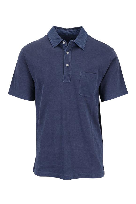 Faherty Brand Navy Sunwashed Pocket Polo