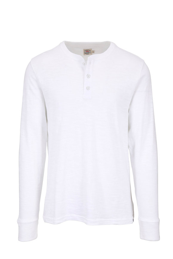 Faherty Brand White Slub Cotton Henley
