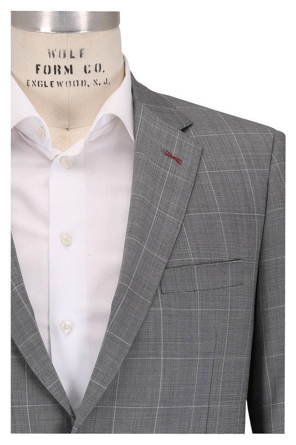 Samuelsohn Bennet Gray Wool Windowpane Suit