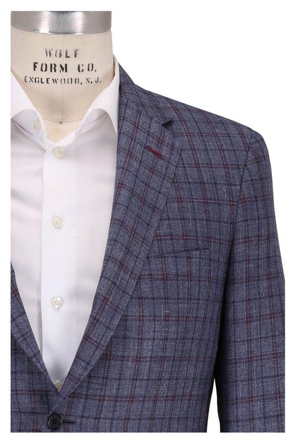 Samuelsohn Slate Blue Check Wool, Silk & Linen Sportcoat
