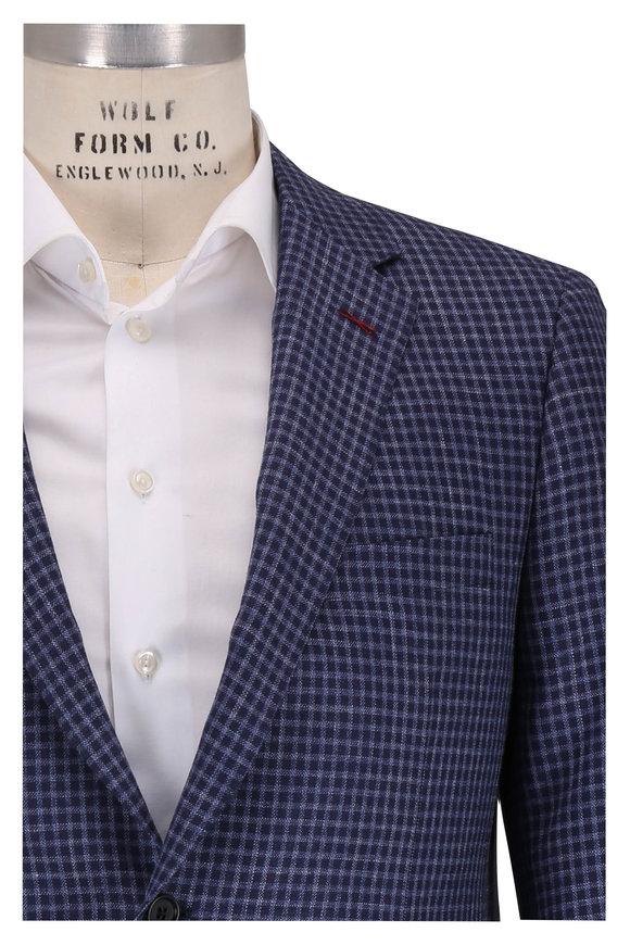 Samuelsohn Navy Blue Check Wool, Silk & Linen Sportcoat