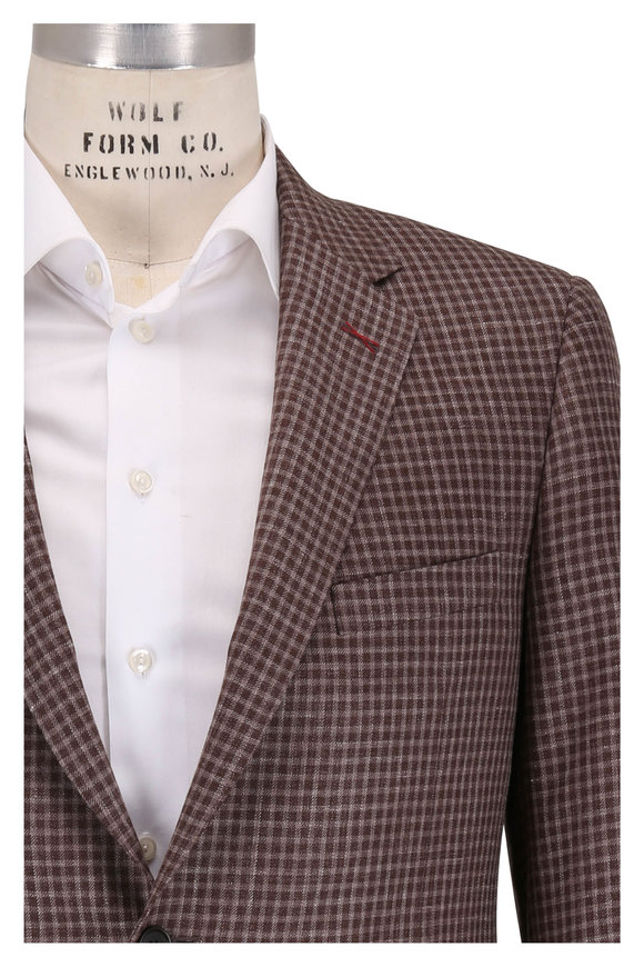 Samuelsohn Brown Check Wool, Silk & Linen Sportcoat