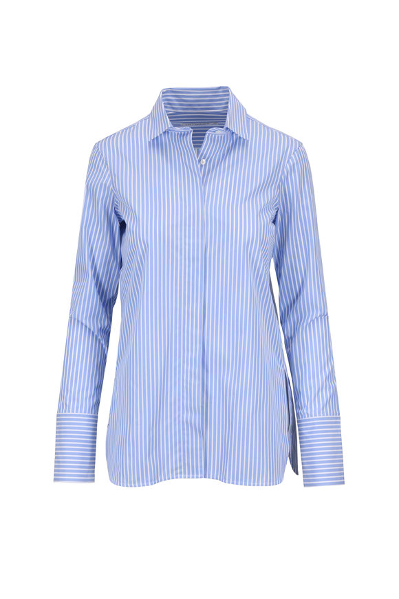Lareida Taylor Blue & White Slim Button-Up Blouse