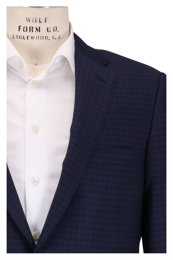 Hickey Freeman Navy Tonal Check Wool Sportcoat