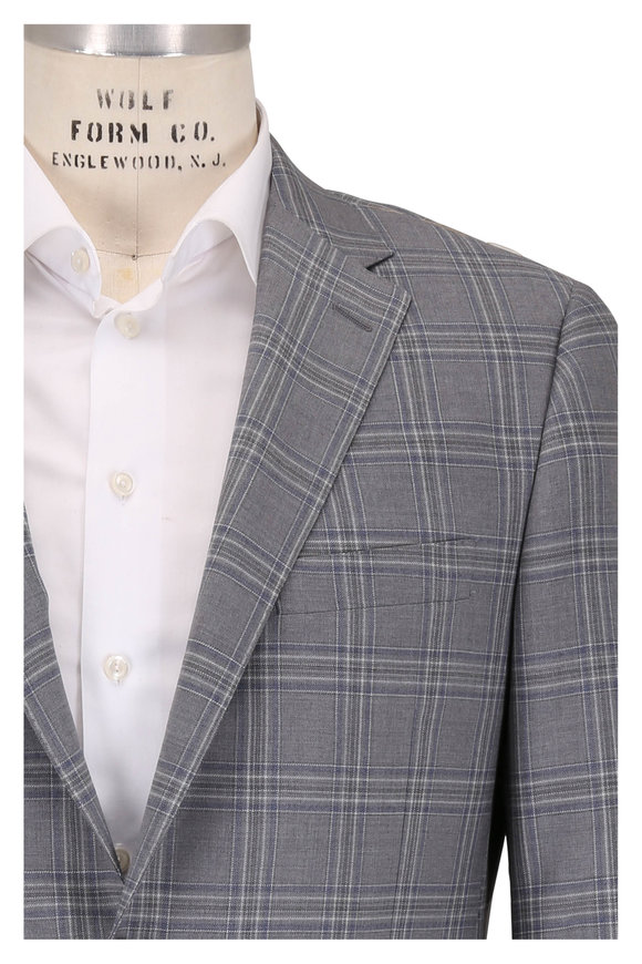 Hickey Freeman Beacon Gray Plaid Wool Sportcoat