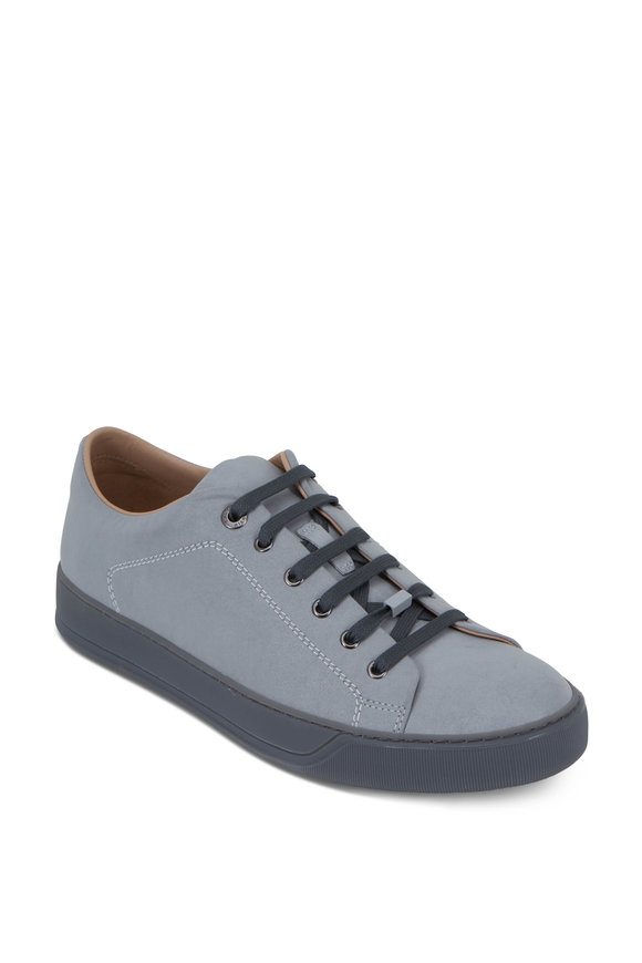 Lanvin Light Gray Reflective Leather Low-Top Sneaker