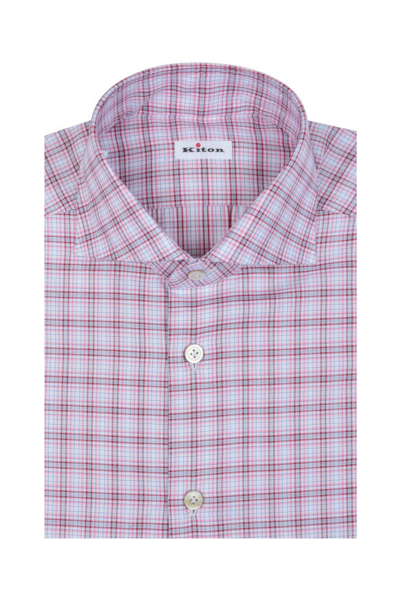 Kiton Pink & White Check Dress Shirt