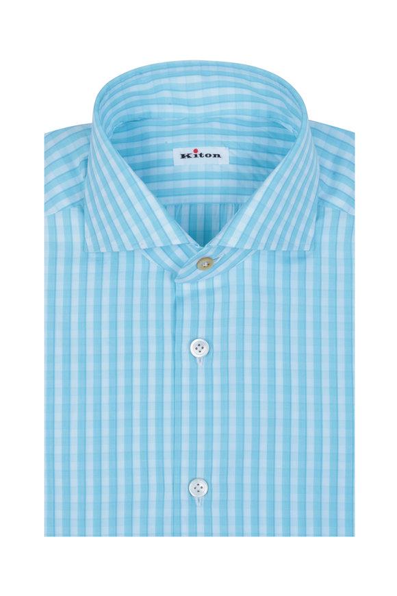 Kiton Aqua & White Check Dress Shirt