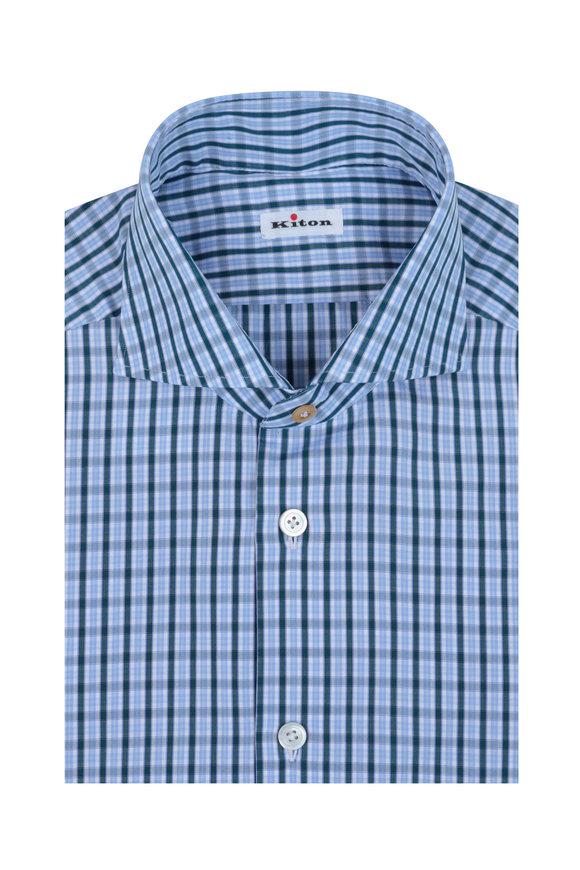 Kiton Green & White Check Dress Shirt