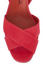 Santoni - Emy Hot Pink Suede Slingback Sandal, 70mm