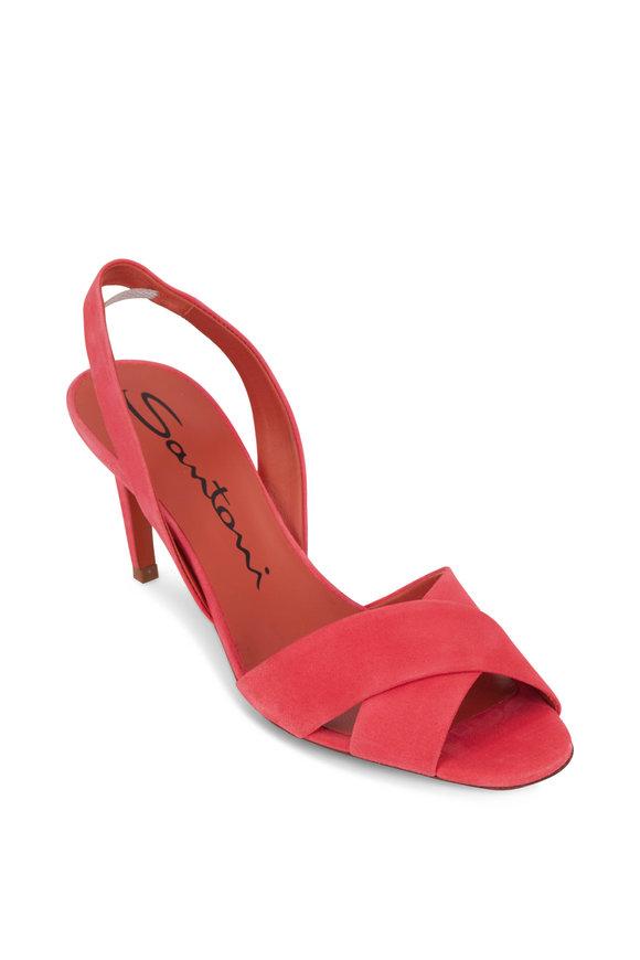 Santoni Emy Hot Pink Suede Slingback Sandal, 70mm