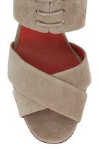 Santoni - Emy Beige Suede Lace-Vamp Sandal, 85mm