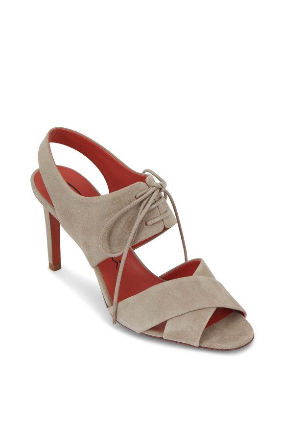 Santoni Emy Beige Suede Lace-Vamp Sandal, 85mm