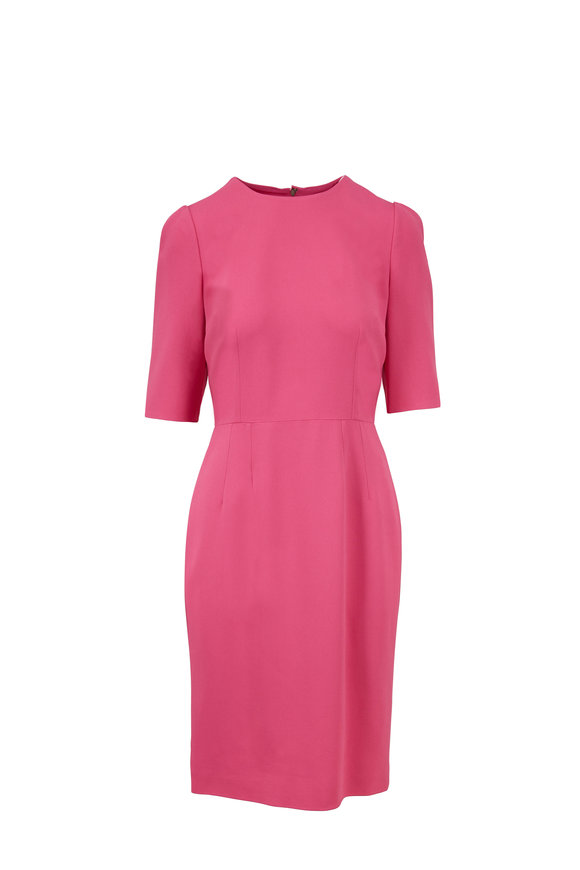 Dolce & Gabbana Medium Pink Cady Elbow Sleeve Fitted Dress