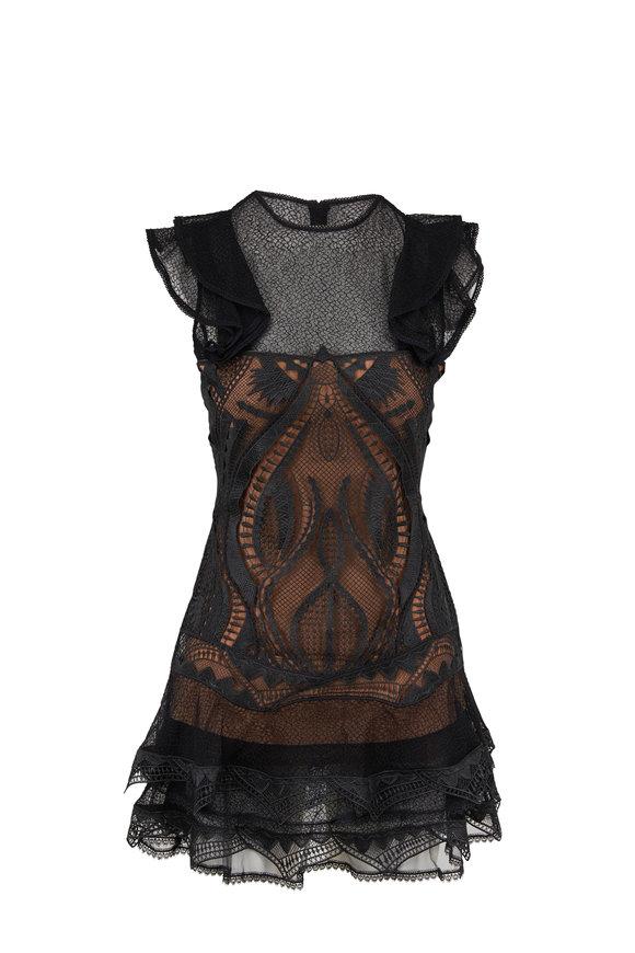 Jonathan Simkhai Black & Nude Lace Ruffle Dress