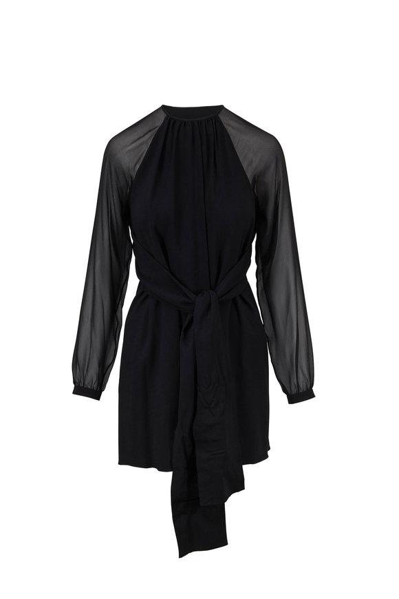 Saint Laurent Black Georgette Wide Draped Self Tie Dress