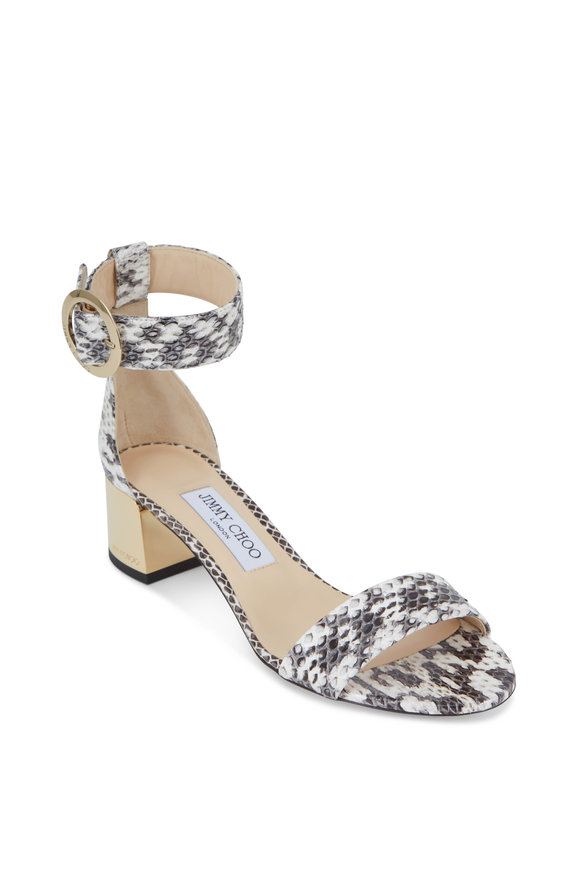 Jimmy Choo Jaimie Natural Glossy Snakeskin Sandal, 40mm