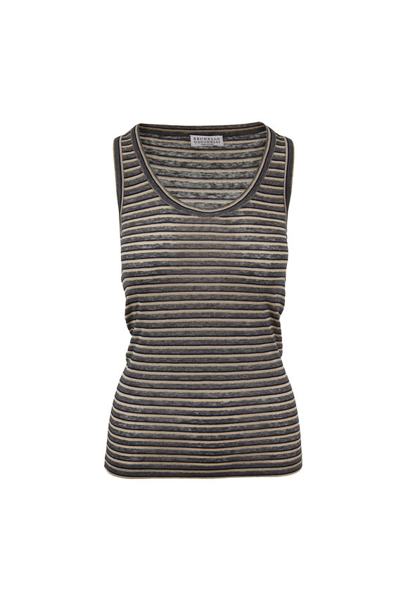Brunello Cucinelli Charcoal Gray Lurex Striped Tank Top
