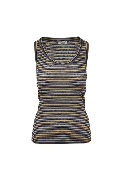 Brunello Cucinelli - Charcoal Gray Lurex Striped Tank Top