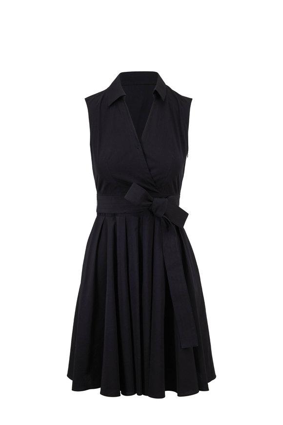 Paule Ka Black Poplin Sleeveless Wrap Dress