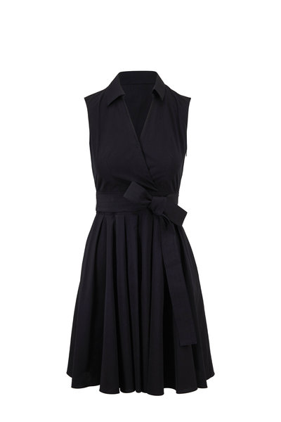 Paule Ka - Black Poplin Sleeveless Wrap Dress